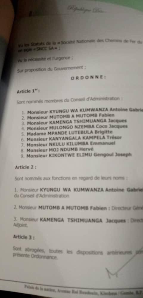 Une copie de l'ordonnance présidentielle