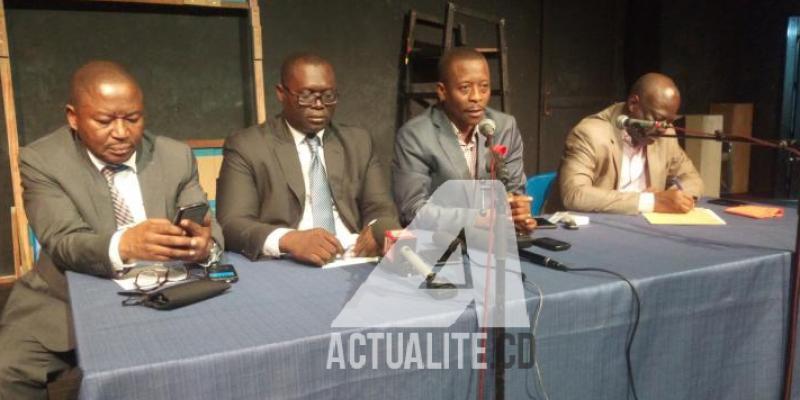De gauche à droite. Paul Nsapu, Traoré Idrissa l'un  des VP de la FDIH, Claude Katende de l'Asadho/Ph. Fonseca Mansianga/ACTUALITE.CD