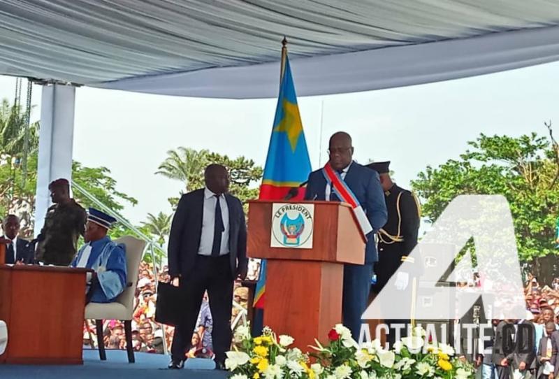 Le président Félix Tshisekedi lors de son discours d'investiture.