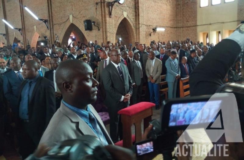 Félix Tshisekedi et plusieurs personnalités à la messe des suffrages en mémoire d'Etienne Tshisekedi décédé il y a deux ans à Bruxelles. Ph Fonseca Masianga/ACTUALITE.CD