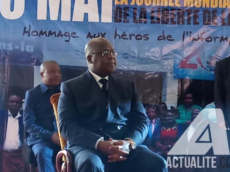 Le président Félix Thisekedi à la cérémonie commémorative de la liberté de la presse le 3 mai 2019 à Kinshasa.