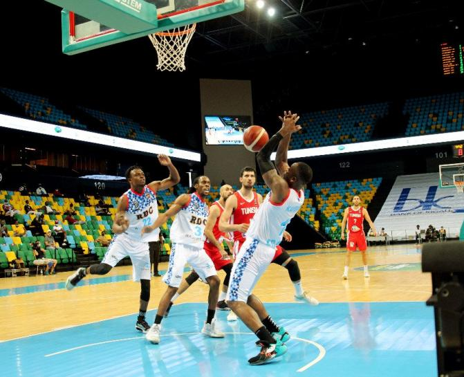 Les Léopards Basketball face à la Tunisie. PH/Droits tiers.